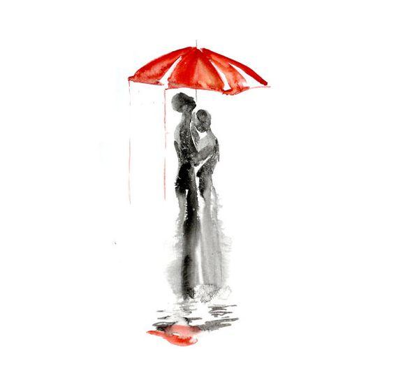 Love red umrella, Abstract watercolor painting, Love under the rain, Love art, Red umbrella watercolor painting 13 x 19 by Elena Romanova. $75.00, via Etsy.