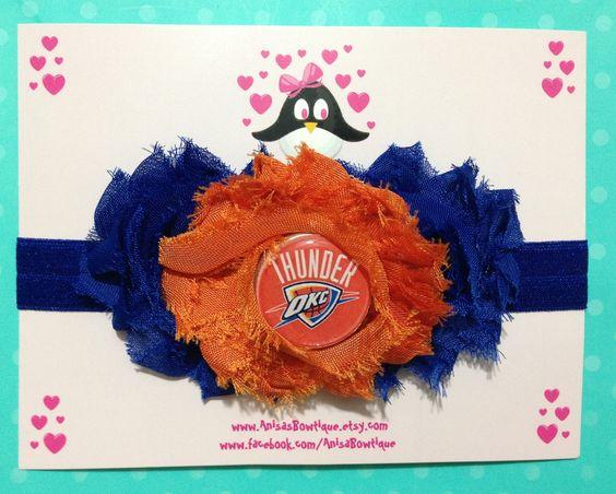 Oklahoma City Thunder Headband, football headband, baby headband, infant headband, toddler headband. $12.00, via Etsy.