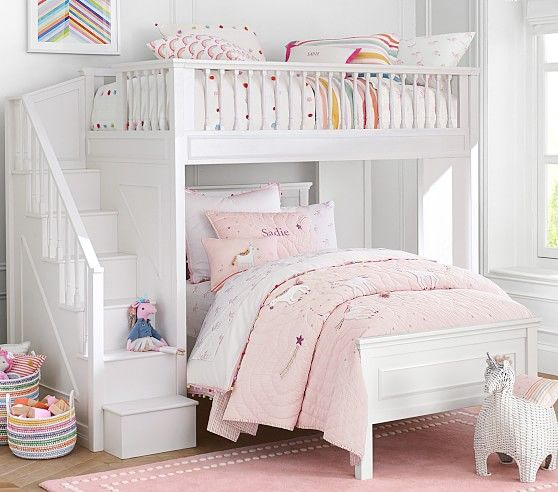 fillmore stair loft bed 38 lower set for girls room bunk designs kids beds curtains over