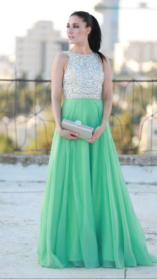 Mint Prom Dresses-A-Line Prom Dress - Long prom dresses- Dress ...