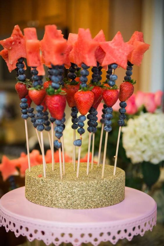 Fruit wands at a Twinkle Twinkle Little Star birthday party! See more party planning ideas at CatchMyParty.com!