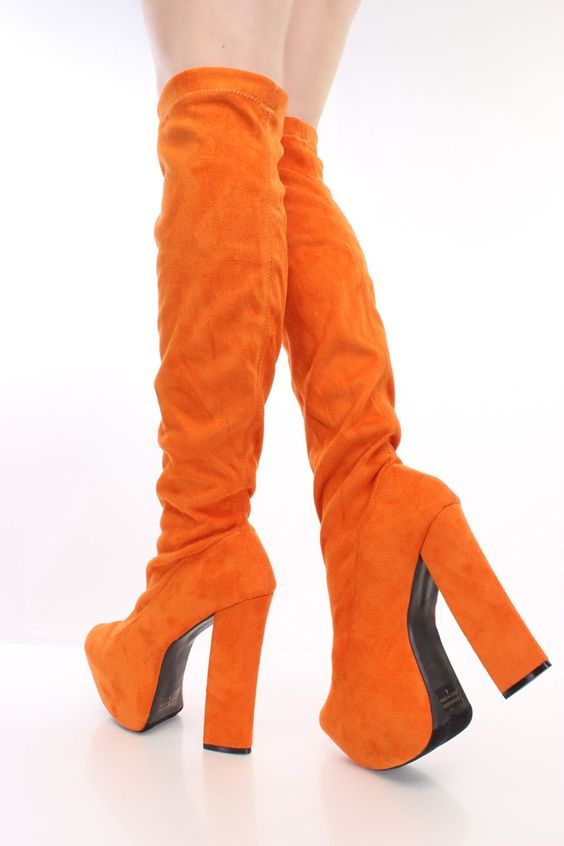 Burnt Orange Faux Suede Knee High Boots Boots Catalog:women's winter boots,leather thigh high boots,black platform knee high boots,over the knee boots,Go Go boots,cowgirl boots,gladiator boots,womens dress boots,skirt boots,pink boots,fashio