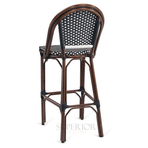 Curved Back Synthetic Wicker Bamboo Commercial Outdoor Bar Stool