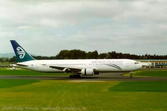 Air New Zealand B767-300 ZK-NCM at Hamilton, September 29, 1999. Touchdown - the first 767 landing at Hamilton International. This was a proving flight for the use of Hamilton as an alternate for Auckland. The aircraft was captained by Dave Morgan.
