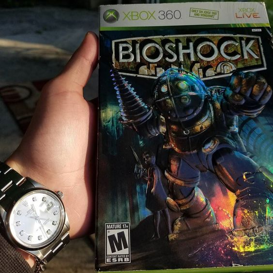 On instagram by mrgameandwatchh #gameandwatch #microhobbit (o) http://ift.tt/2cCK6Y3's thrift store pickup for a buck. Bioshock x Rolex Oyster Perpetual Date. #bioshock #xbox #xboxone #xbox360 #nintendo #gaming #videogames #game #rolex #rolexwatches #1500 #rolexdate #watches  #mrgameandwatch