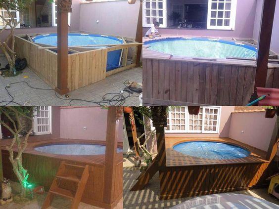 Piscina de plastico piscina de palete pinterest for Piscina con palets
