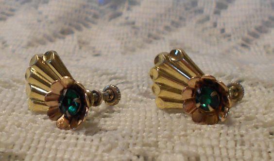 Vintage Gold Washed Sterling Rhinestone by ViksVintageJewelry, $13.99