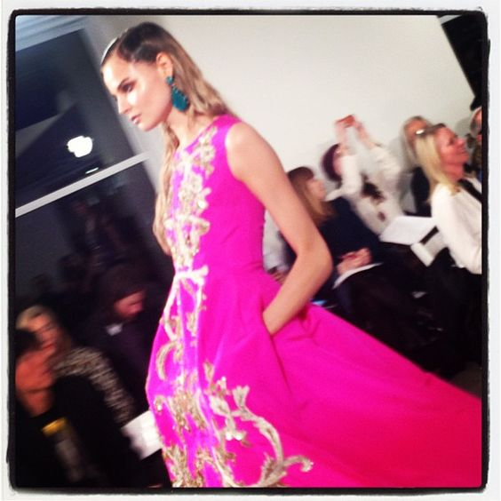 This shocking pink gown was one of our favorite looks...obviously. cc @oscarprgirl #RZFW - @thezoereport- #webstagram