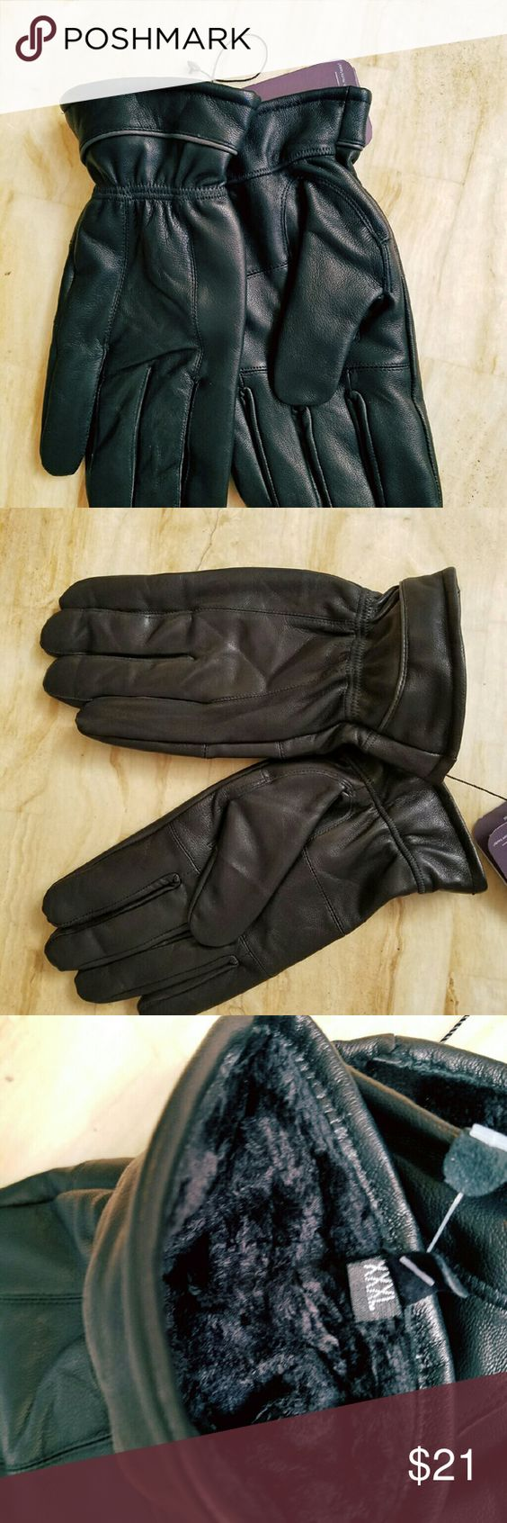 Mens leather gloves xxl - New Genuine Leather Gloves For Men Warm And Comfy Sheep Leather Is Very Soft