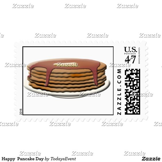Everyday can be #PancakeDay ! Happy Pancake Day Postage by #TodaysEvent  #Gravityx9 #Zazzle -