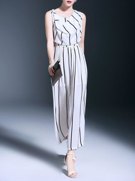 Shop Jumpsuits - Printed Casual Sleeveless Jumpsuit online. Discover unique designers fashion at StyleWe.com.