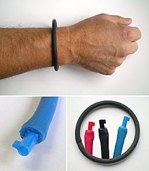 A leading federal law enforcement agency asked our manufacturer to invent a special emergency handcuff key for their undercover operatives. The Undercover Bracelet is the result.  This device is completely non-metallic, even the key portion. The key, which is permanently affixed to one end of the bracelet, serves as the connector joining the two ends. The key is not visible when the bracelet is worn. It is quickly accessed by just yanking on the bracelet, exposing the key.