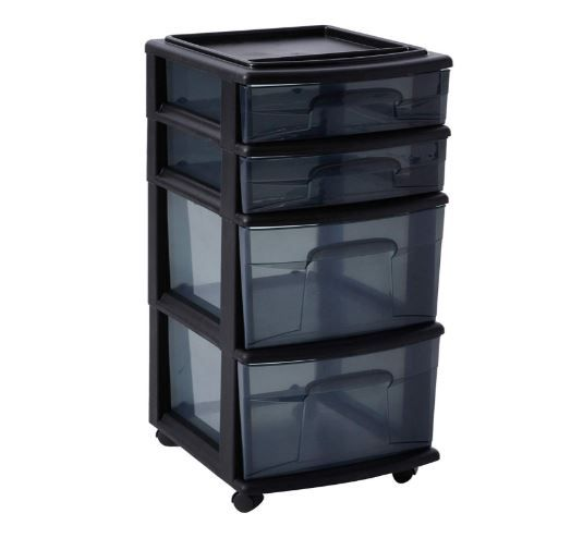 Homz Plastic 4 Drawer Medium Cart Black Frame With Smoke Tint Drawers Casters Included Set Of 1 Cutegiftideas Gift In 2020 Storage Cart Storage Craft Organization