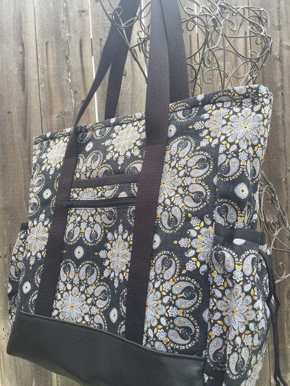 Teacher Tote, Travel Tote, Leather Bottom Large Tote Bag with ...
