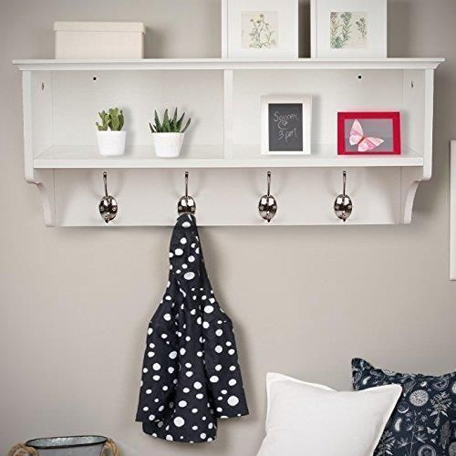 Details About White Wall Mounted Coat Rack Wooden Storage Unit Shelf Hooks Stand Hat Scarf Coat Hooks Wall Mounted Wall Mounted Coat Rack Coat Rack Shelf