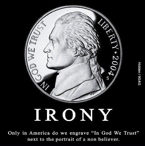 Image result for american money atheist irony