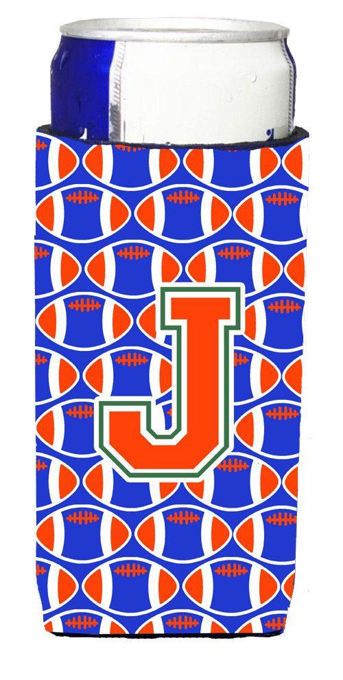 Letter J Football Green, Blue and Orange Ultra Beverage Insulators for slim cans CJ1083-JMUK