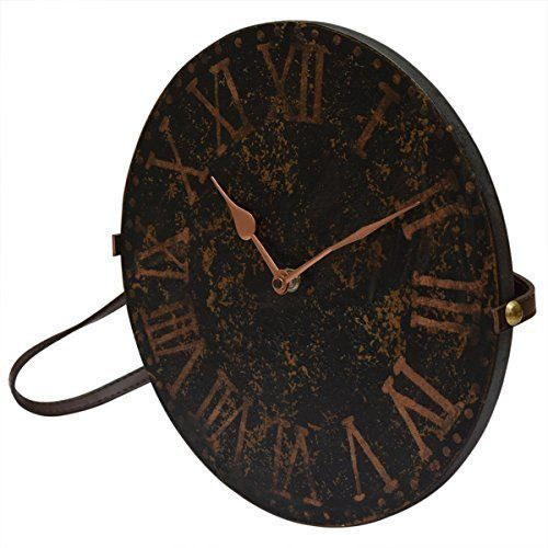 Decorative Round Wooden Wall Clock Bohemian Rustic Country Style Black Brown With Leather Strap 11 Inch Vintage Wall Clock Clock Rustic Clock
