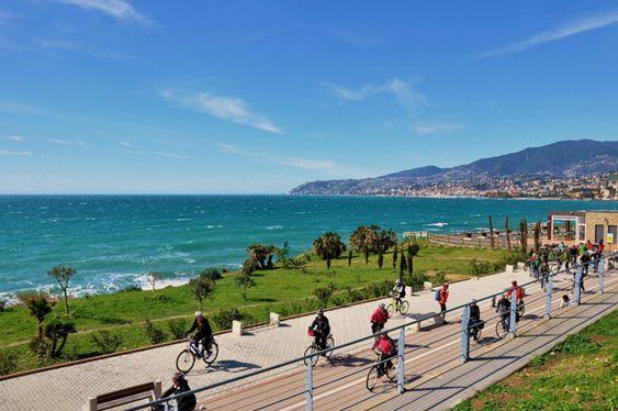 Riviera dei Fiori coastline Park's Bike/walk Trail, Liguria. www.italianways.com/ten-great-bike-trails-in-italy/