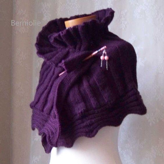 AMETHYST, Knitting capelet pattern, PDF | Etsy, Tejido de punto y ...