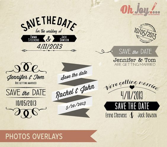 INSTANT DOWNLOAD - Save the date Photo Overlays Photoshop Template - save the date template