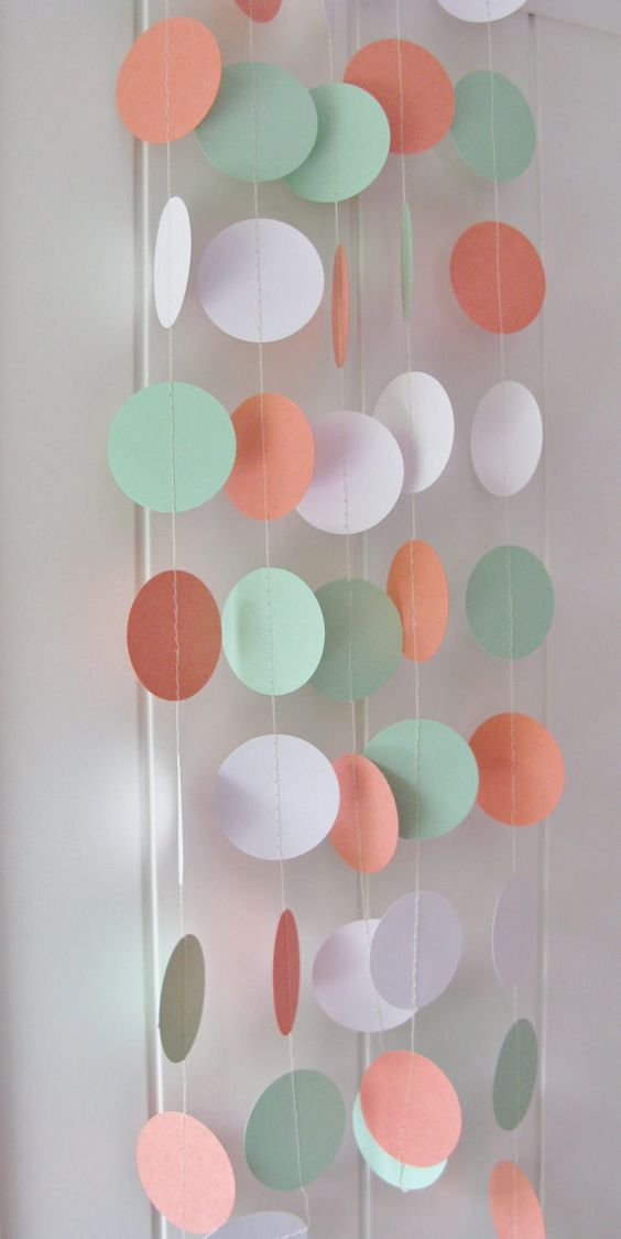 Coral, Mint Green, and White Circle Garland - 10ft Long.  These garlands have been made using coral, mint green and white card stock. Each hand punched