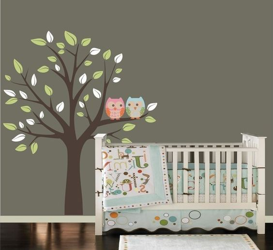 Maybe...: Nursery Idea, Kids Room, Wall Color, Owl Theme, Wall Painting, Wall Decal, Baby Room, Owl Decal