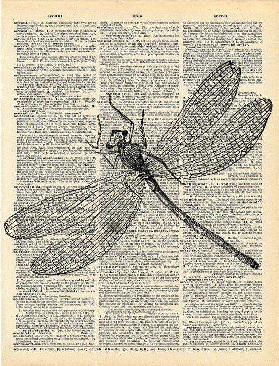 Antique livre imprimé  libellule insecte Art par missquitecontrary