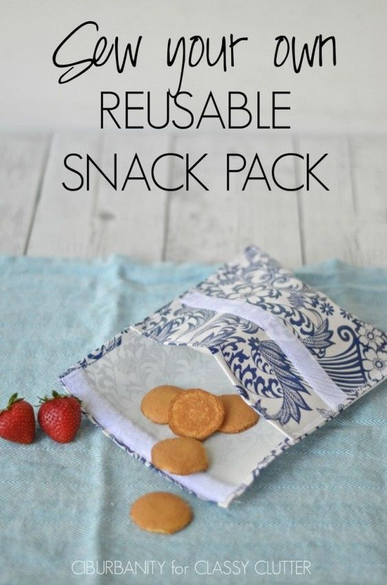 Sew Your Own Reusable Snack Packs - These are so smart for kids for school! - Click for tutorial!