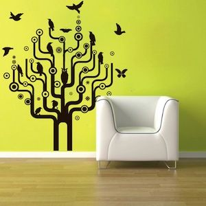 urban bird tree wall art design trendy wall designs