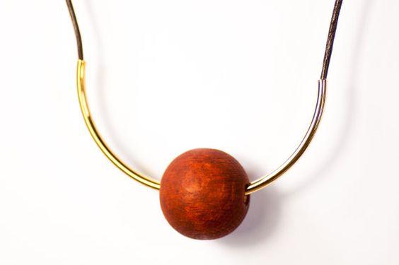 Gleichgewicht - Geometrische Metall-Holzperlenkette