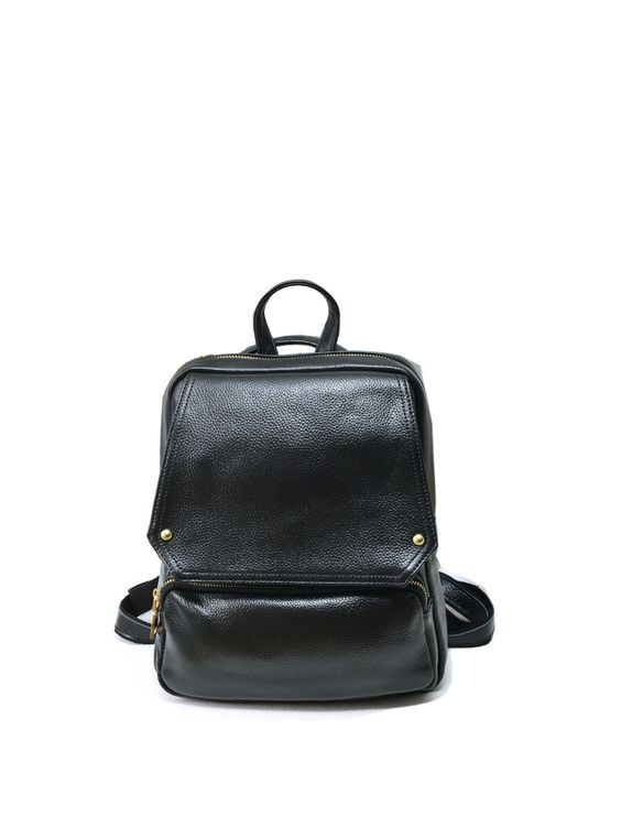 Medium Plain Cowhide Leather Zipper Casual Backpack - AdoreWe.com