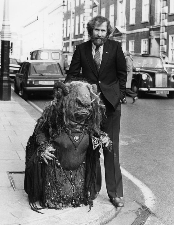 Jim Henson and Aughra from The Dark Crystal in London, 1981