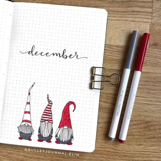 30 idées pour votre monthly cover de décembre- @bulletjournal.elin on instagram