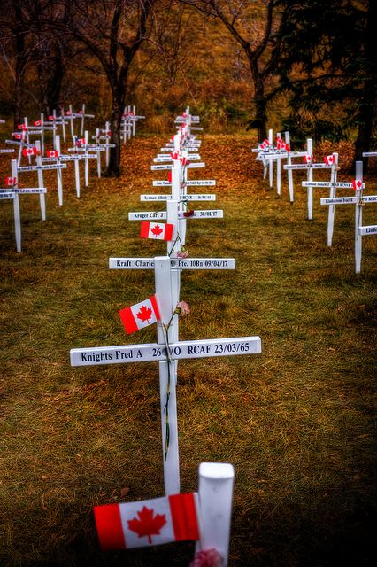 Fields of Heroes, Calgary, Alberta, Canada. This memorial is put up every year along Memorial Drive. Each cross bears the name of a fallen soldier from our area. Sunrise services are held honouring our Heros every morning for several days leading up to Remembrance Day. A very touching tribute to our soldiers who gave their lives in service to our Nation.:
