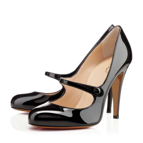 Buy Black Genuine Leather Mary Jane Stiletto Heel Pumps  on nancyjayjii.com