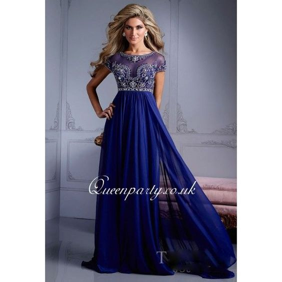 Royal Blue Chiffon Long Prom Dress With Beaded Cap Sleeves - Prom ...