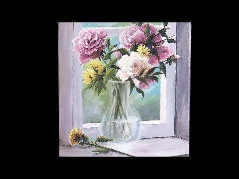 Acrylic Flowers In A Vase Paint With Kevin Youtube Easy