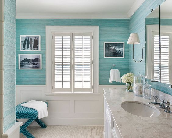 The turquoise bathroom wallpaper is by Phillip Jefffries. Kate Jackson Design.