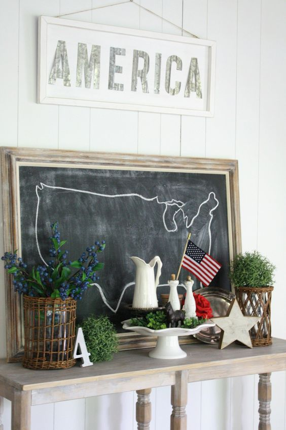 Check out this beautiful Farmhouse 4th of July Decor. This patriotic decor mixed with a touch of vintage makes for a simple way to decorate for the holiday.