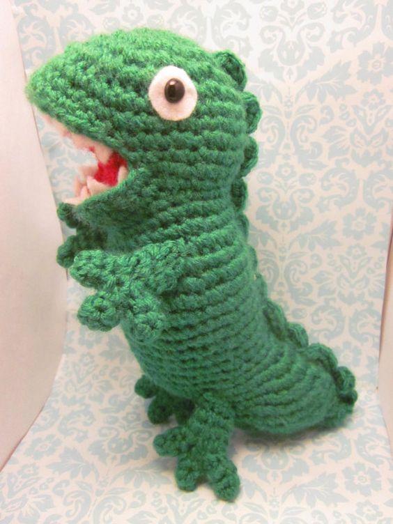 Amigurumi Green Pig : Green+Dinosaur+Peppa+the+Pig+Inspired+Amigurumi+by ...