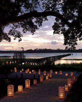 Illuminated Lakeside Lantern Pathway