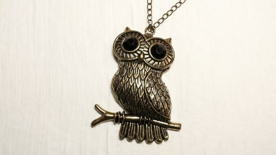 Owl Necklace Antique Golden Owl Necklace Large by DandelionByPolly