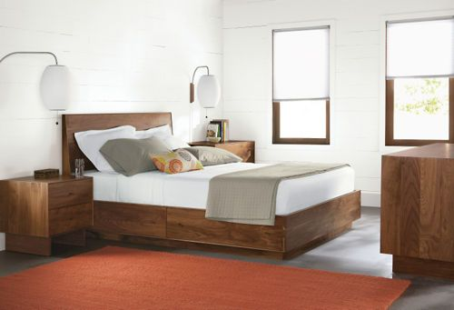 Storage bed option from Room and Board. Walnut. $2799 I like that you have nightstand options on this unit.