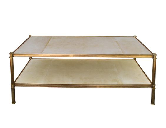 Cole Porter Coffee Table Contemporary, Parchment, Coffee Cocktail Table by Victoria Son