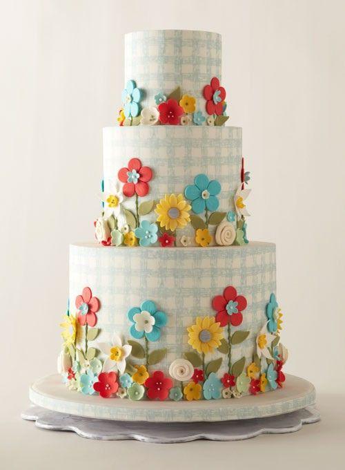 Gingham and Flower Wedding Cake