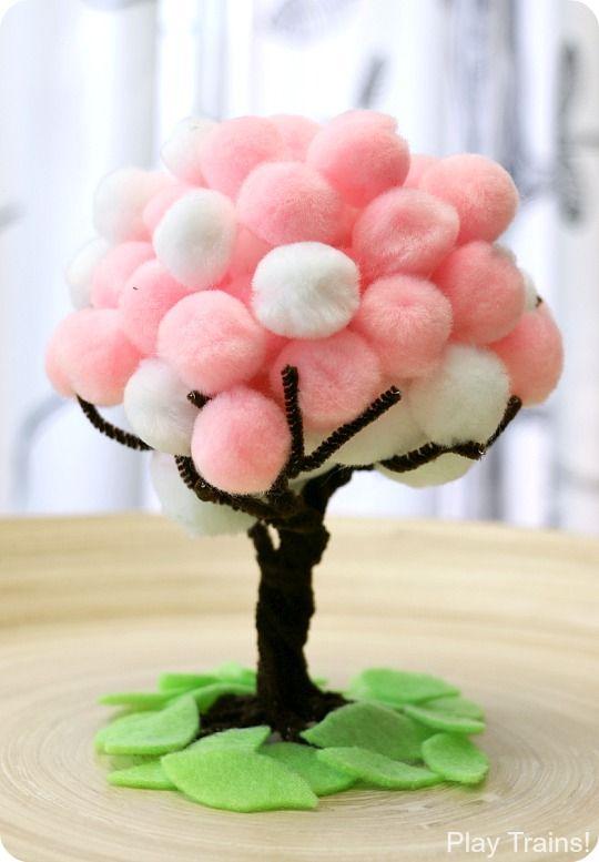 Flor de cerezo Primavera Pom Pom Árboles: actividad motora fina y el arte del juego Los trenes!