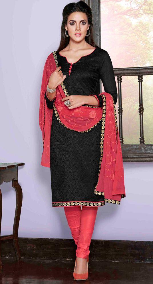 USD 25.00 Black Chanderi Silk Churidar Suit 48503