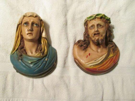 Vintage Chalkware Jesus Mary Wall Plaque Statue Figurine