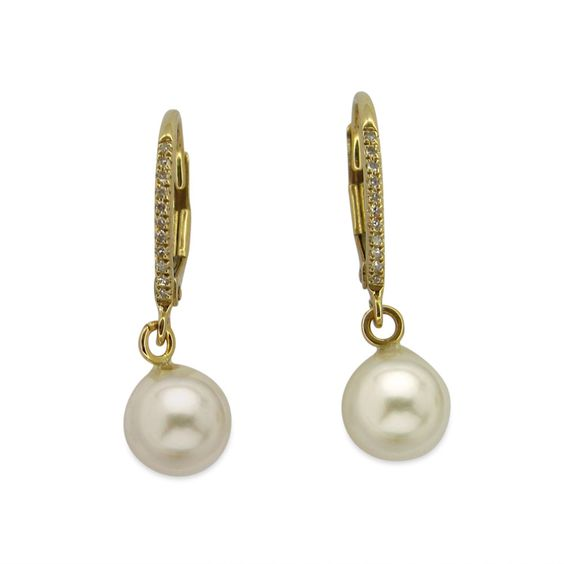 These elegant leverback earrings are crafted of fine 14k white and yellow gold and feature beautifully iridescent 7 mm white, round freshwater pearls with shimmering diamonds. These stunning earrings are a great complement to any wardrobe.